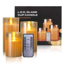 """Kithouse Flameless Led Candles Flickering Battery Operated Pillar Real Wax LED Glass Candle Sets with Remote Control Cycling 24 Hours Timer, 4"""" 5"""" 6"""" Pack of 3"""