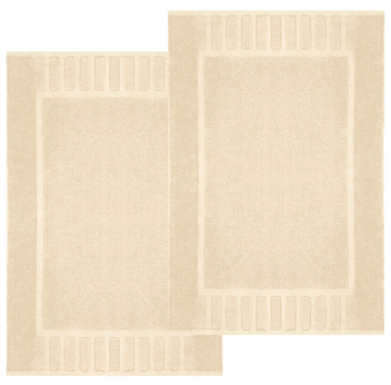 "White Classic Luxury Bath Mat Floor Towel Set - Absorbent Cotton Hotel Spa Shower/Bathtub Mats [Not a Bathroom Rug] 22""x34""   2 Pack   Beige"