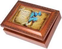 Cottage Garden Memories Holding On Things You Love Woodgrain Rope Trim Jewelry Music Box Plays Wonderful World