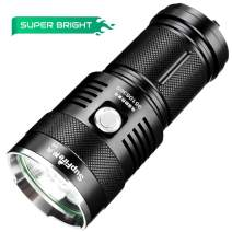 Supfire Powerful Flashlight,Cree Led 2300 Lumens Waterproof Searchlight 4pcs 18650 Batteries and Charger Included Flashlight Torch 5 Modes Perfect for Fishing Camping Trip