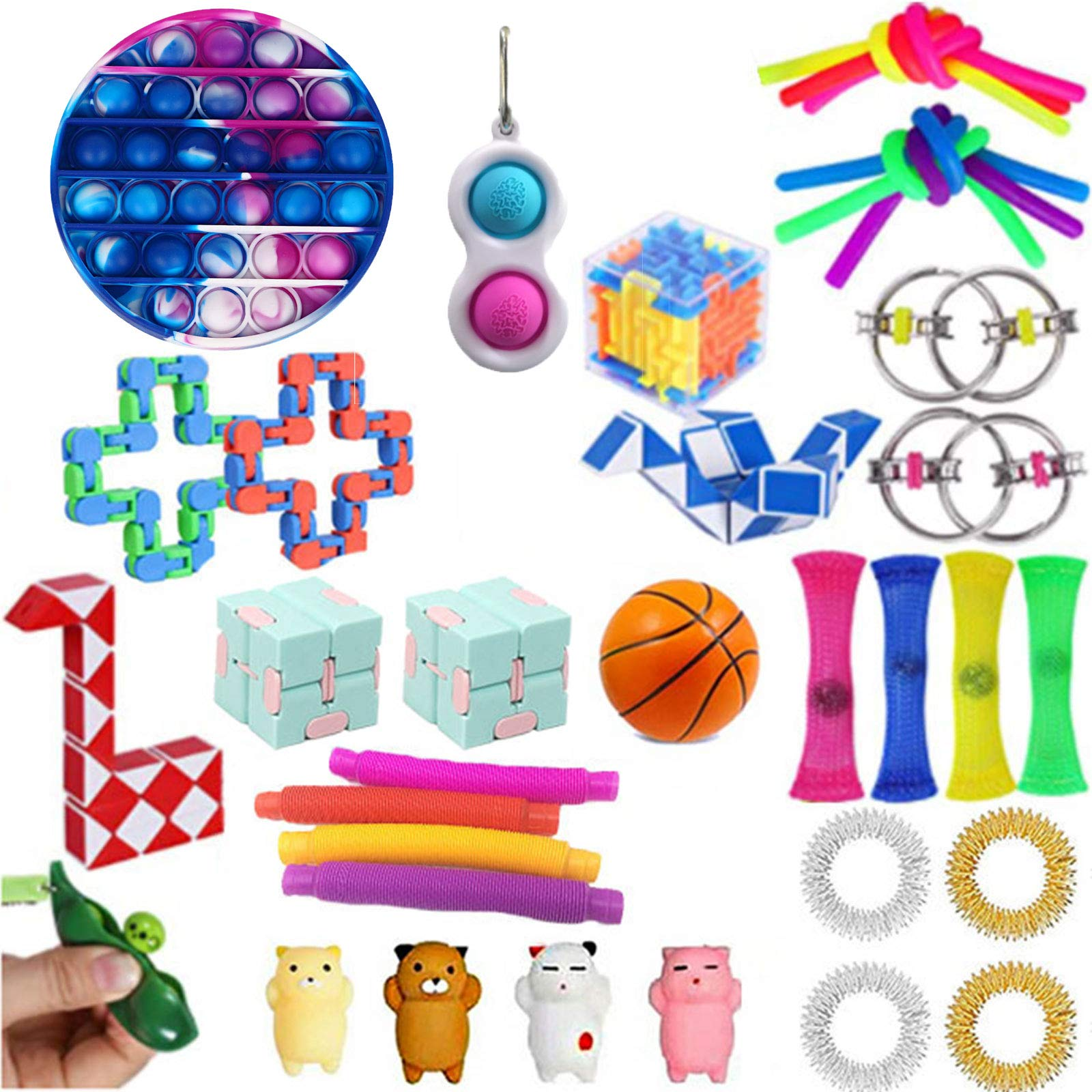 Komoo Fidget Toy 31Pcs Packs Cheap, Simple Dimple Fidget Toys Fidgets Box, Decompression Keychain Toy, Push Pop Bubble Sensory Toy for Kids and Adults (D)