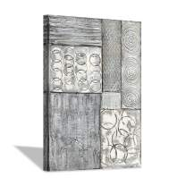Abstract Canvas Wall Art Pictures: Neutral Colors Thick Textured Artwork with Round Circles Symbols for Entryway (24'' x 36'' x 1 Panel)