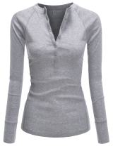 NEARKIN Slim Long Sleeve V Neck Henley Shirts Asymmetrical Tunic Tops for Women