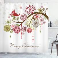 "Ambesonne Christmas Shower Curtain, Cloth Fabric Bathroom Decor Set with Hooks, Hat Scarf Tree, 75"" Long"