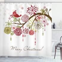 "Ambesonne Christmas Shower Curtain, Cloth Fabric Bathroom Decor Set with Hooks, Hat Scarf Tree, 70"" Long"