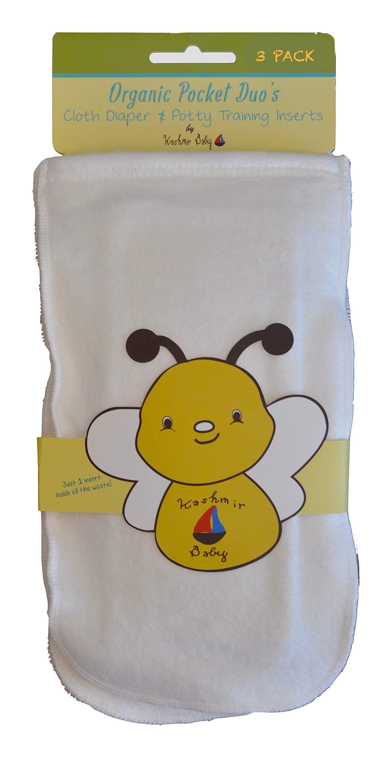 Kashmir Baby 3 Pk Bamboo/Organic Cotton Cloth Diaper Plus Potty Training Inserts (3 Pack Large)