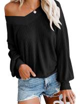 SIMPFIT Womens V Neck Pullover Sweater Casual Loose Waffle Knit Off Shoulder Plain Tops