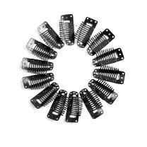 Neitsi 50pcs 3.8cm Clip for Hair Wigs I SHAPE Metal Hair Snap-Comb Wig Clips with Rubber (Black#)