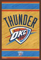 """Trends International NBA Oklahoma City Thunder - Logo, 22.375"""" x 34"""", Mahogany Framed Version"""