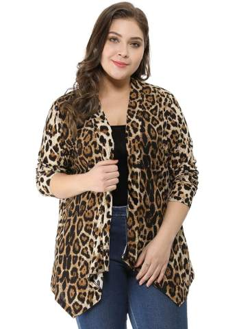 Gemijack Womens Plus Size Sweaters Winter Casual Leopard Print Long Sleeve V Neck Cable Knit Pullover XL-5XL