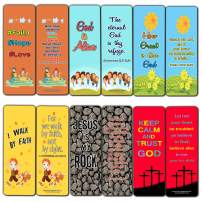 Children Christian Bookmarks Cards (12-Pack) - Faith Hope Love Bible Memory Verses for Kids, Girls and Boys - Walk by Faith - Jesus is Alive - Room Decor