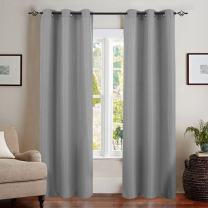 Grey Curtains for Bedroom 2 Panels Privacy Waffle Woven Textured Window Curtains for Living Room 84 inch Length Room Darkening Curtain Panels, Grommet Top