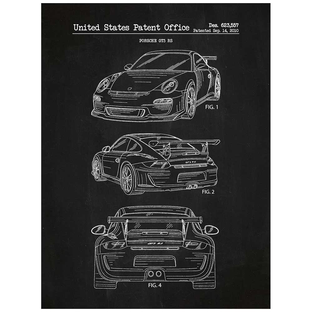 """Inked and Screened SP_AUTO_623,557_CH_24_W Porsche Automobile Design Patent Art Poster Silk Screen Print, 18"""" x 24"""", Chalkboard-White Ink"""