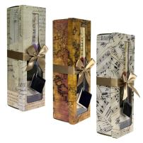 Pomerol Collection -Champagne Gift Box - Set of 3 Assorted -Reusable, Easy to Assemble -No Glue Required - Ribbon Tie and Gift Tag Included - Lid with Window Design - EZ Gift Box by Endless Art US