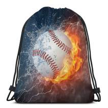 Ice and Fire Baseball Drawstring Bags Lightweight Backpack Sport Storage Polyester Bag For Boy's Hiking Gym Traveling Swimming