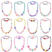 FUN LITTLE TOYS Toddler Jewelry for Girls, Kids Jewelry Set Play Bracelets Dress Up Necklaces for Party Favors, Classroom Prizes, Goodie Bags