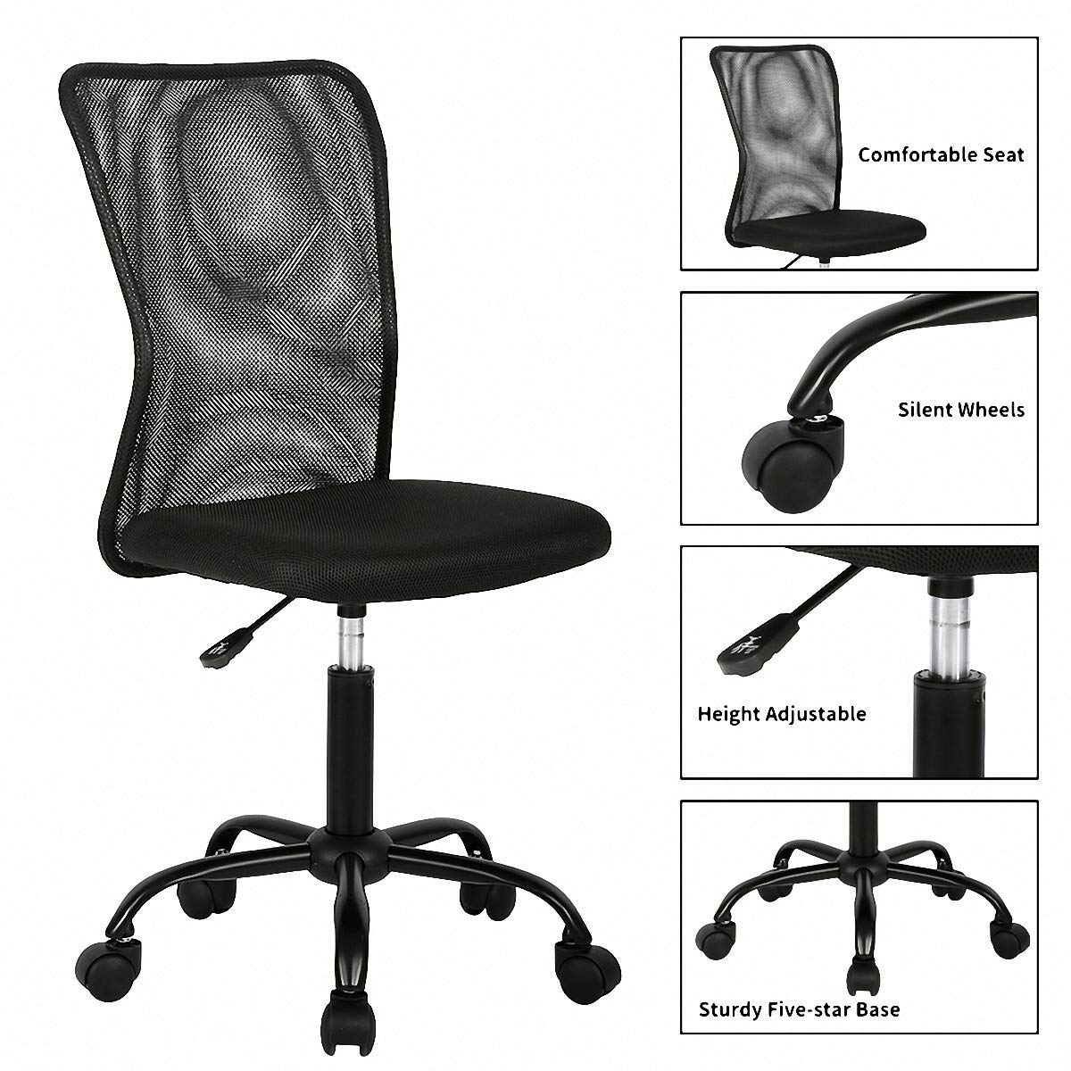 Mid Back Office Chair, Ergonomic Mesh Computer Desk Chair with Lumbar Support, Racing Seat Adjustable Swivel Rolling Back Support Executive Chair, Modern Task Chair with Wheels for Small Space- Black