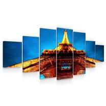 STARTONIGHT Huge Canvas Wall Art Eiffel Tower - Large Framed Set of 7 40 x 95 Inches