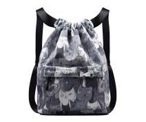 YANAIER Drawstring Sport Backpack Bag Lightweight Waterproof Gym Yoga Sackpack Shoulder Rucksack Casual Outdoor Daypack Grey Cat