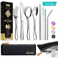 Reusable Utensils with Case - Travel Utensils - Portable Flatware Stainless Set with Waterproof Case and Straw, Knife, Fork, Spoon, Spork (Silver, Full size)