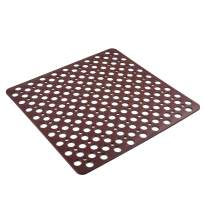I FRMMY Anti Slip Bath Shower Floor Mat with Drain Hole- Plastic Square Non Slip Bathroom Stall Mat- 21x 21 Inch (Brown)