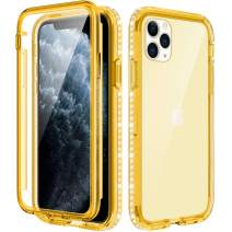 Caka iPhone 11 Pro Max Case, iPhone 11 Pro Max Glitter Clear Full Body Protective Case Built in Screen Protector Sparkly Bling Diamond Girly Women Crystal Soft Cover for iPhone 11 Pro Max 6.5 (Yellow)