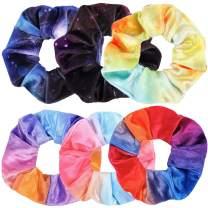 Guvass Tie Dye Scrunchies Rainbow Velvet Hair Scrunchies for Women, Hair Scrunchie for VSCO Stuff, Stars Hair Ties Ponytail Holder 6 Pack
