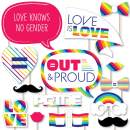 Big Dot of Happiness Love is Love - Gay Pride - LGBTQ Rainbow Party Photo Booth Props Kit - 20 Count
