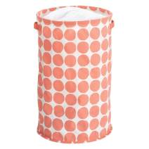 iDesign Dot Fabric Round Storage Bin, Basket Container Mini Hamper with Dual Side Handles for Closet, Bedroom, Laundry, Clothing, Toys, Nursery - Coral