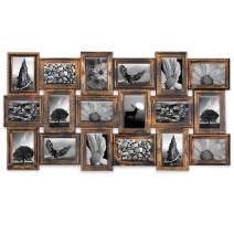 JERRY & MAGGIE - Photo Frame 17x33 Long Rectangle Picture Frame Selfie Gallery Collage Wall Hanging for 6x4 Photo - 18 Photo Sockets - Wall Mounting Design (Gold   18 Pieces Gallery)