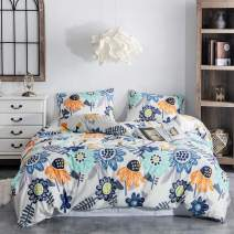 Argstar 2 Pcs 100% Cotton Floral Duvet Covers Twin, Natural Floral Vintage Bedding Set Covers, Colorful Sunflowers Pattern Comforter Cover, 1 Duvet Cover and 1 Pillowcase