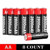 AA Batteries Rechargeable 1.2V Ni-MH 2800mAh High Capacity Long Lasting Double A Battery for Household and Business 8-Pack