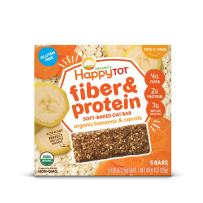 Happy Tot Organic Fiber & Protein Soft-Baked Oat Bars Organic Toddler Snack Banana & Carrot, 0.88 Ounce Bars, 5 Count Box (Pack of 6)