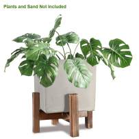 Indoor Plant Stand with Pot, ZOUTOG 5 inch Cement Plant Pot with Wooden Plant Stand for Indoor & Outdoor Use, Square Cement Pot Included