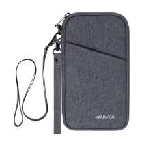 Arvok Travel Wallet, RFID Blocking Family Passport Holder with Removable Wrist Strap & Neck Strap, Water-resistant Ticket Document Organizer Bag, Zipper Case Pouch for Women & Men (Grey)