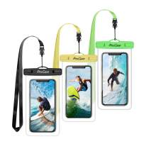 """Procase Universal Waterproof Pouch Cellphone Dry Bag Underwater Case for iPhone 11 Pro Max/Xs Max/XR/8/SE 2020, Galaxy S20 Ultra/ S20+/Note10+ S9 S8+, Pixel up to 6.9""""-3 Pack, Green/Yellow/Black"""