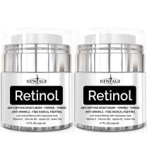 New Age Retinol Cream Neck & Décolleté Moisturizer Serum with Hyaluronic Acid, Vitamin E - Anti Aging Formula Reduces Wrinkles, Fine Lines-Day and Night Cream 1.7 Fl Oz - 2 Pack - Retinol