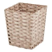 mDesign Small Woven Basket Trash Can Wastebasket - Square Garbage Container Bin for Bathrooms, Kitchens, Home Offices, Craft, Laundry, Utility Rooms, Garages - Taupe