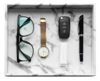 HofferRuffer Desktop Organizer Tray, Bath Bathroom Vanity Tray, Storage Organizer, Dresser Tray Cosmetics, Catchall Tray for Change Coin Key, Marble White Faux Leather, 10.2 x 8.4 x 1.8 inches
