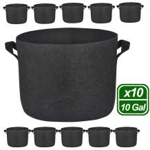 MEARTEVE 10 Pack 10 Gallon Premium Grow Bags, Heavy Duty Nonwoven Fabric Plants Pots with Handles, Indoor & Outdoor Grow Containers for Vegetables and Fruits