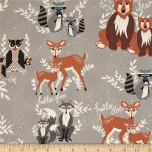 Art Gallery Fabrics 0399570 Art Gallery Bear Oh, Hello Fog Fabric by The Yard