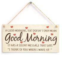 """Meijiafei A Good Morning Text Doesn't Only Mean Good Morning - Romantic Love Heart Gift Sign Plaque 10"""" X 5"""""""