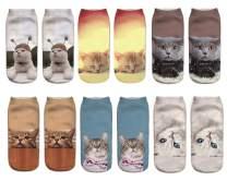 Novelty Funny Cute 3D Print Ankle Socks for Girls Women Pattern Design Low Cut Value Pack