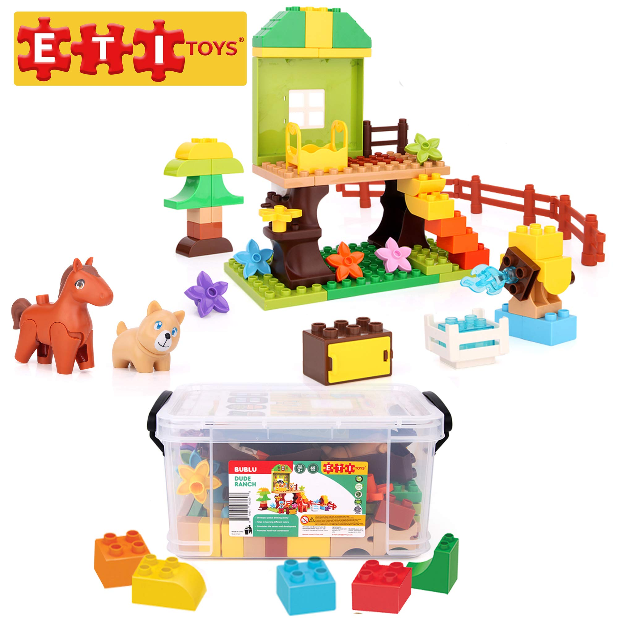 ETI Toys, 65 Piece Bublu Dude Ranch Building Blocks. Build Horse Ranch, Tree House, Flower Garden. 100 Percent Safe, Fun, Creative Skills Development. Toy Gift for 3, 4, 5 Year Old Boys and Girls