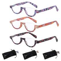 Reading Glasses Women | 3 Pack Fashion Readers Half Moon Frame with Spring Hinge