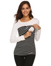 SUNAELIA Women's Nursing & Maternity Striped Long Sleeve Shirt Tops