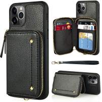 LAMEEKU Wallet Case for iPhone 11 Pro, Zipper Leather Case with Credit Card Holder Slot Wrist Strap, Anti-Scratch Shock Absorption Cover Case for iPhone 11 Pro 5.8 inch 2019 - Black