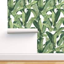 Peel-and-Stick Removable Wallpaper - Tropical Palms Banana Leaf by Willowlanetextiles - 24in x 72in Woven Textured Peel-and-Stick Removable Wallpaper Roll