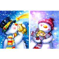 """SKRYUIE 2 Pack 5D Diamond Painting Christmas Snowman Couple Full Drill Paint with Diamonds Art, Snowman and Cats DIY Painting by Number Kits Rhinestone Wall Home Decor 30x40cm (12""""x16"""")"""