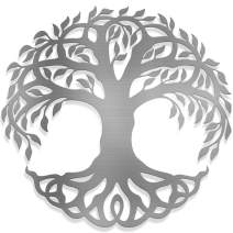 Steel Roots Decor Powder Coated Polished Metal Tree Of Life Wall Art Laser Cut Holes 18 inch